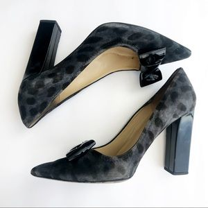 KATE SPADE Gray Leopard Print Pointed Toe Bow Pump